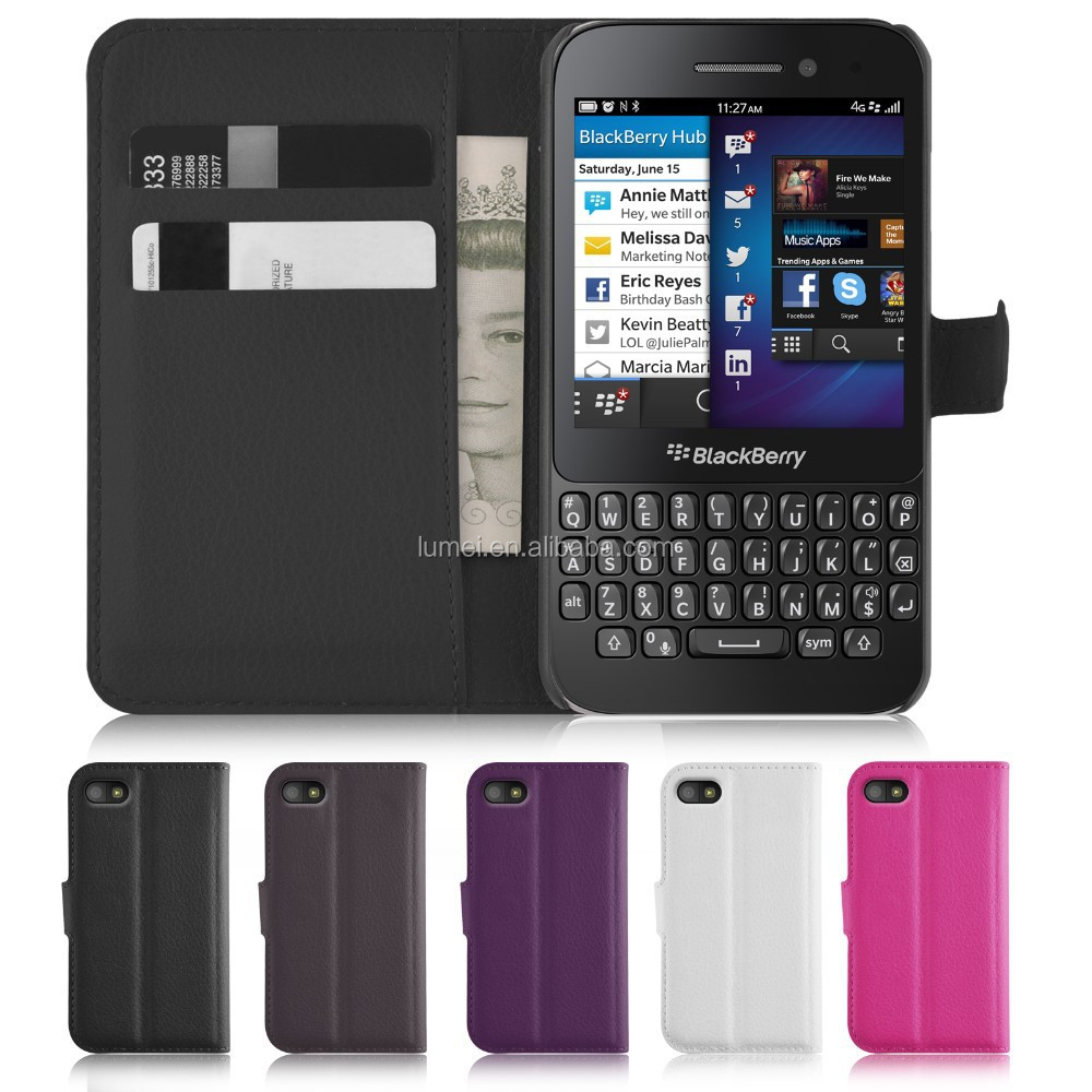 Book Wallet Flip PU Leather Case Cover For Blackberry Q5