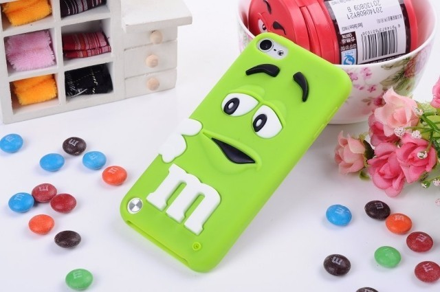 Cute 3D cartoon kids Silicone M&M Chocolate Beans Case for ipod touch 5 itouch 5 ,50pcs/lot