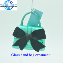 Fashional glass lady bag ornament unusual glass ornament for Christmas decoration