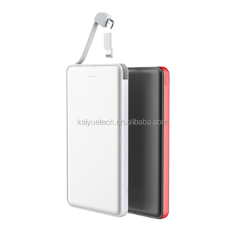 New storage battery 3000-10000mah power bank charger with built in usb cable