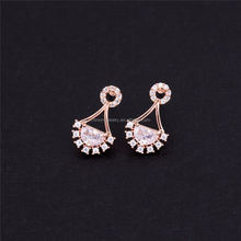 Beautiful Half Circle Shape rose gold plated Cubic Crystal Zircon Stud Earrings