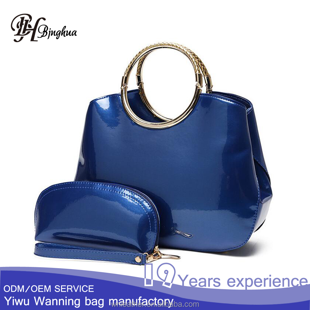 AL-034 Modern design patent leather women tote bag with ring handle and a coin purse
