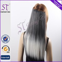 Tangle Free Synthetic White Grey Color Clip In Hair Extension