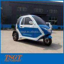 three wheeled electric vehicle with closed cabin assembled disc wheel or hand bar