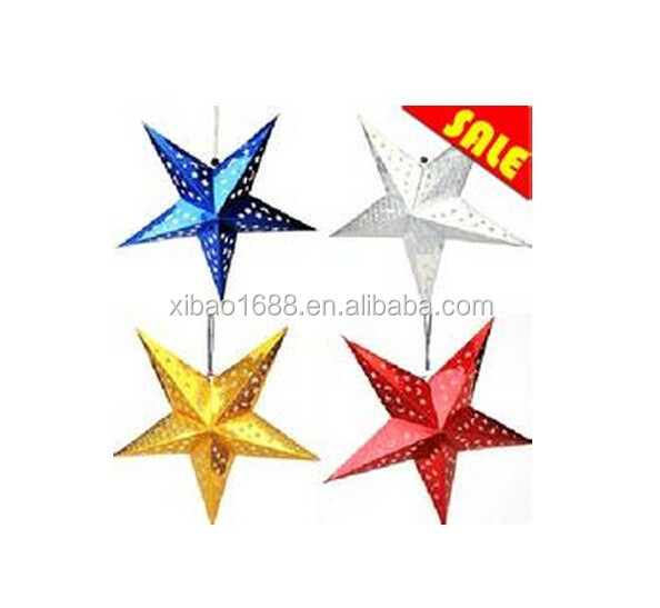 xibao brand Beautiful handmade five star adult paper party supply craft personalized christmas tree decorations