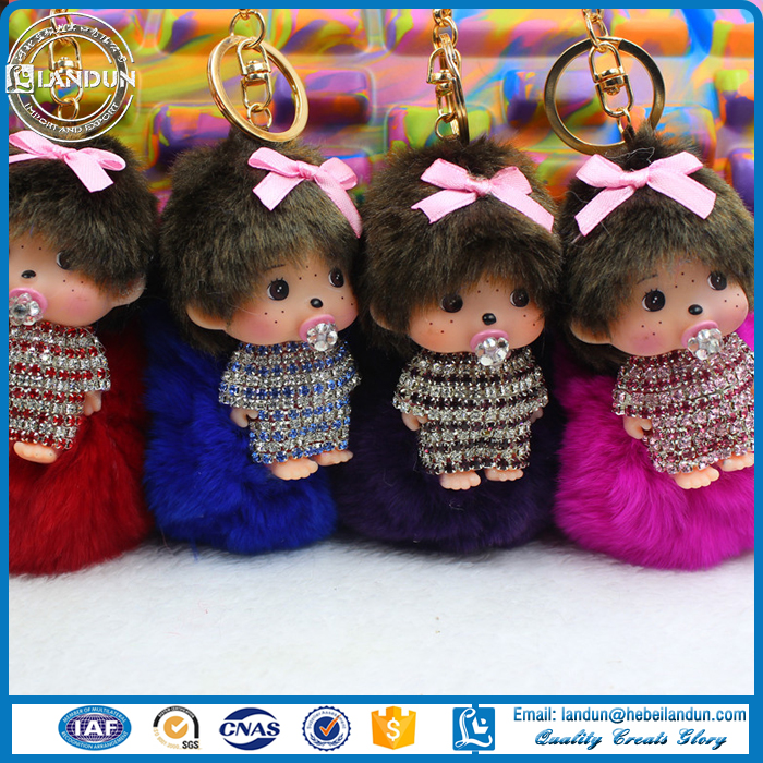 Lovely doll Monchichi pendent keyring with pompom /Monchichi for creative Birth Gift