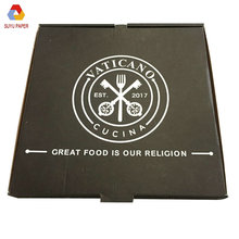 Trending hot products custom embossing disposal black packing pizza box corrugated