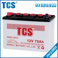 75D31L 12V75AH car battery lead acid dry charged 4wheels battery with high performance
