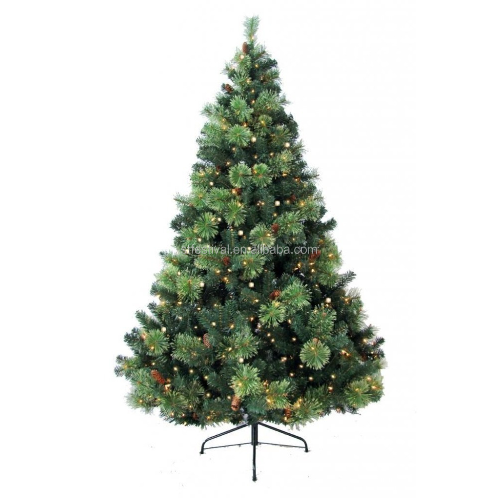 6-foot Prelit Artificial Pine Needle Plastic Christmas Tree with 400 Clear Lights Metal Stand