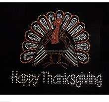 Thanksgiving Rhinestone Turkey Hot Fix Heat Press Transfer Rhinestone MOTIF Applique Happy Thanksgiving