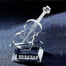 Optical Glass Guitar Crystal Music Trophy For Excellence Honor