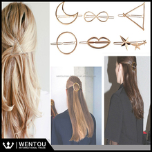 Wholesale Chic Golden Shining Hair Accessories Open Twist Triangle Hair Clip