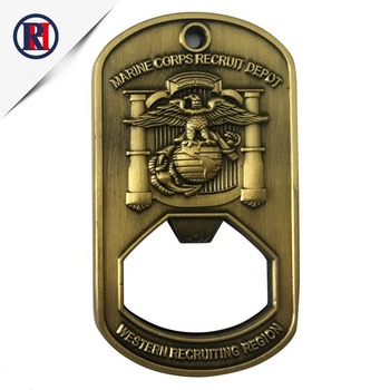 manufacturer wholesale custom cheap antique gold marine metal novelty shape logo keychain beer bottle opener