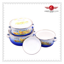 3pcs Set Lucky Birds Decal enameled saucepan