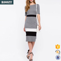 2016 latest design o neck grey open back knee length casual cotton bodycon women dress for sale
