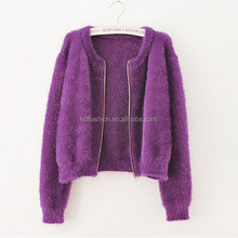 Zip-up design women fashion sweaters mohair knitting