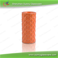 Soft candy color straight cylinder ceramic candle holder whosale
