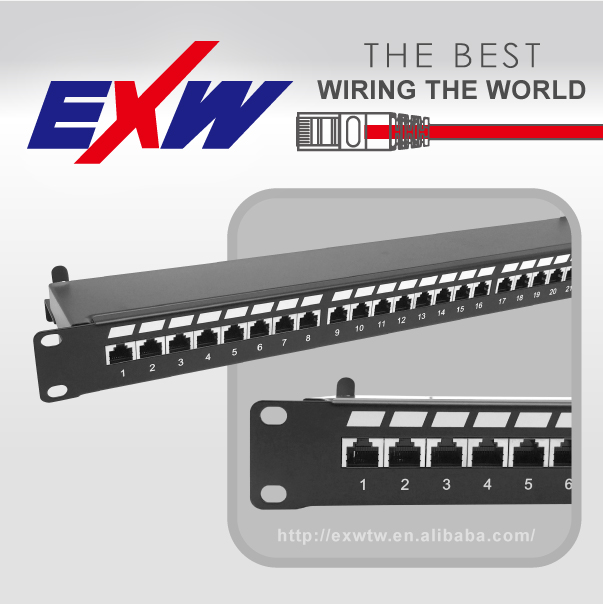 8 in 1 90 degree krone type STP 24 port patch panel cat6a