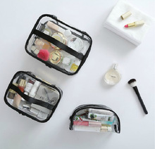 Yiwu Bags Factory korean square bottom travel toilet plastic PVC waterproof promotion custom large cosmetic bag clear