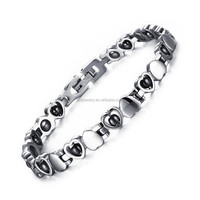 Healthy Stainless Steel Hematite Bracelet Heart Design for Women Wholesale