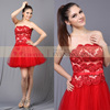 CY50340 red short off the shoulder puffy beaded lace girls evening dresses