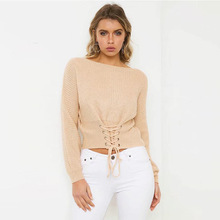 Speed sell 2018 Sexy new V collar knitted sweater, loose corns cross straps, drawstring, hollowed out sweater.