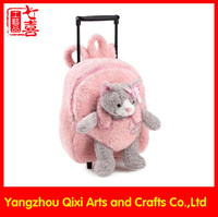 Cat soft toy on front pink color plush trolley bag kids school wheeled bag trolley