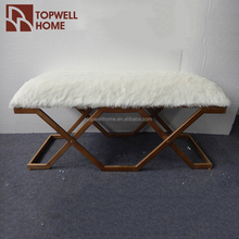 bedroom furniture white fur top metal bed bench