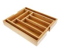 C&C Expandable Bamboo kitchen drawer organizer Cutlery Utensil Tray and Office Desk Drawer Organizer