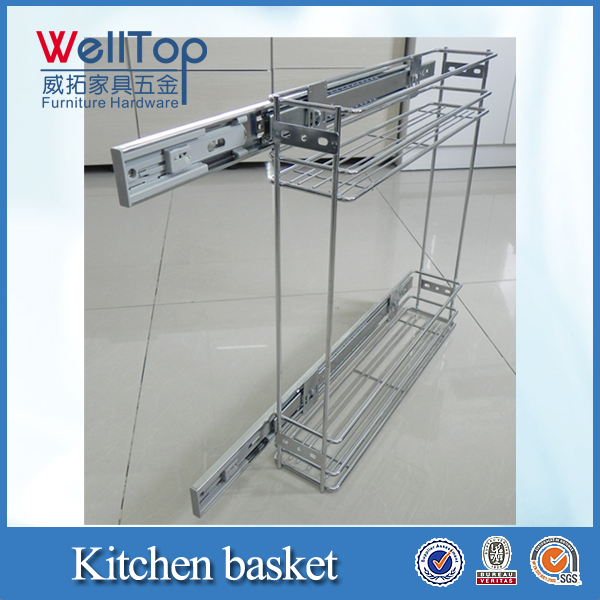 Kitchen narrow pull out wire basket drawer