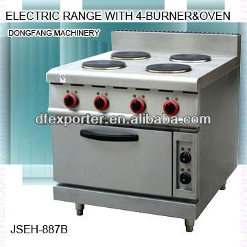 electric cooking range, DFEH-887B electric range with 4 burner and oven