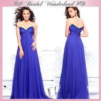 Sweetheart chiffon long japanese royal blue prom dress