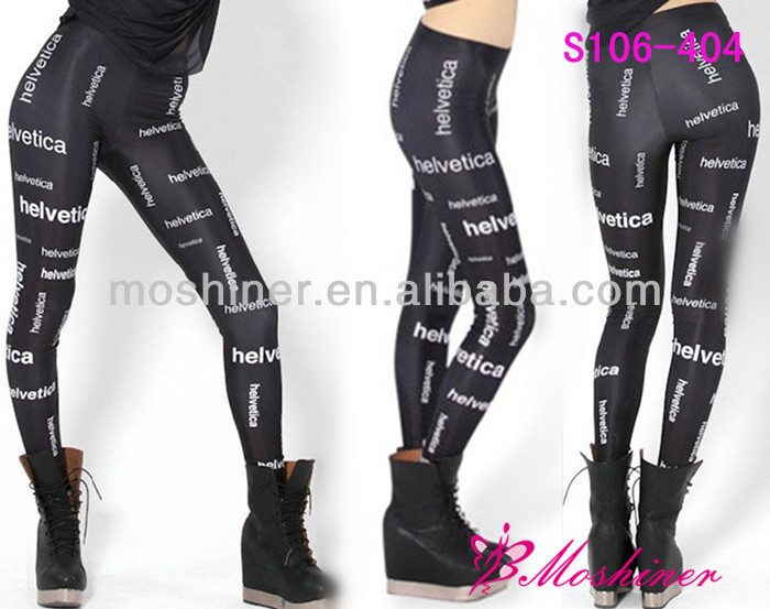 2014 New Fashion Popular Pirate Leggins Solid Galaxy Pants Digital Printing Black HELVETICA LEGGINGS For Women Hot Sale S106-404