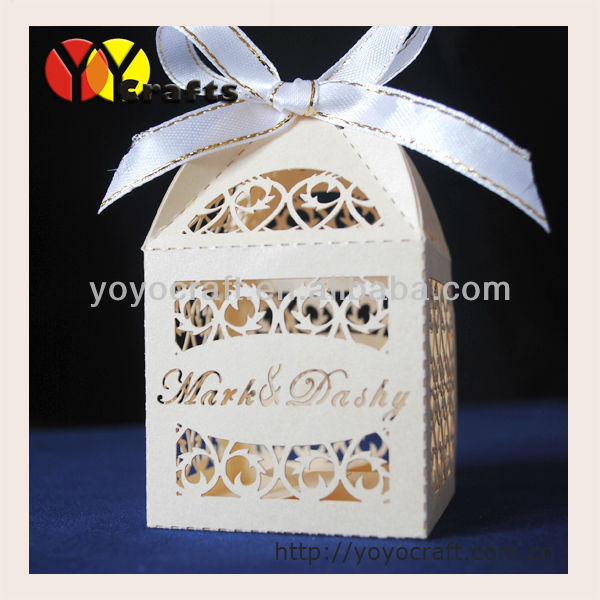 best sell eco friendly filigree shape laser cut wedding candy cake <strong>box</strong>