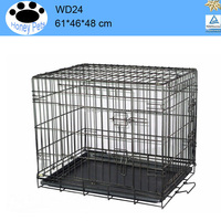 Cage Pet Dog Crate Kennel Cat Folding Tray metal wire dog cage