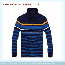 men yarn dayed striped polo shirts long sleeve pocket polo shirt