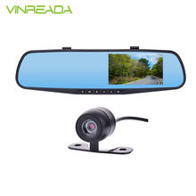 4.3'' 1080P Rear View Mirror Driving Video Recorder Dual Lens Car Camera DVR