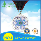Factory direct sale metal soft enamel snowflake shaped swimming waterpolo medals and trophies