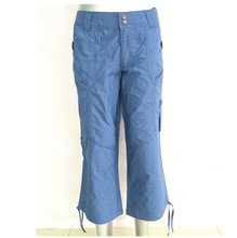 Stock wholesale 3/4 cotton cargo pants cargo trousers with pockets for women