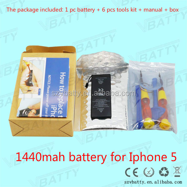 1440 mAh High Capacity Long Life Time Battery for iPhone 5 Battery with Retail Packing Gift Packing