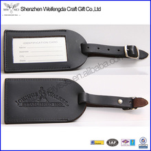Exquisite Embossed Black Leather Luggage Tag For Travel
