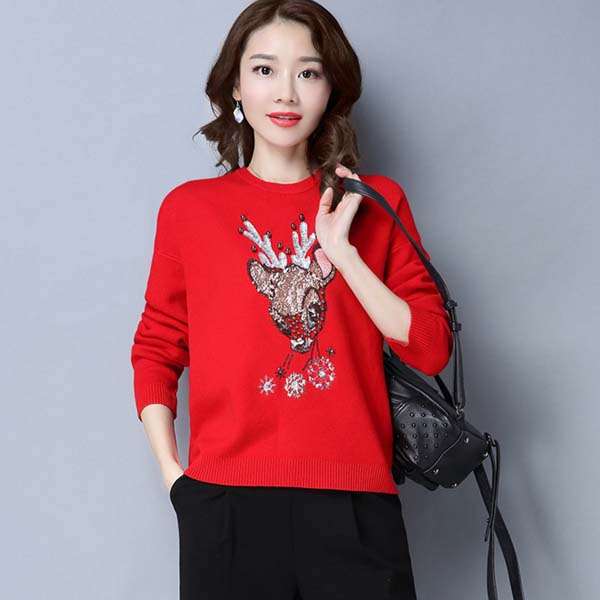 2017 New design sweater spring fashion women sweater with sequin deer pattern and pearl