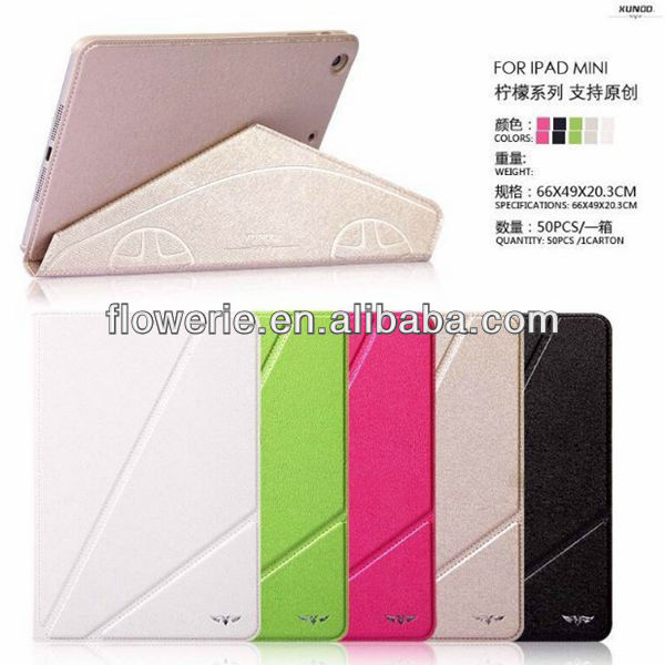 FL3293 2014 china wholesale stand folding flip leather case for apple ipad mini 2
