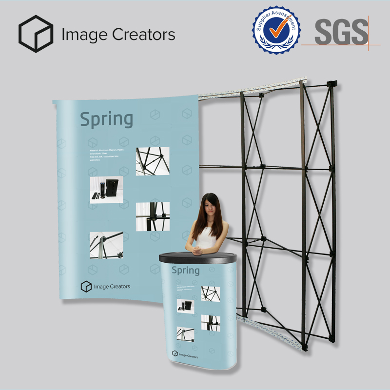 Trade show booth exhibit pop up display case stand