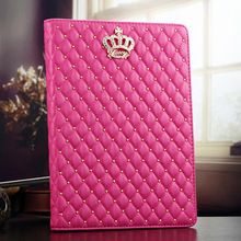 Lattice bling crown leather stand case for ipad air