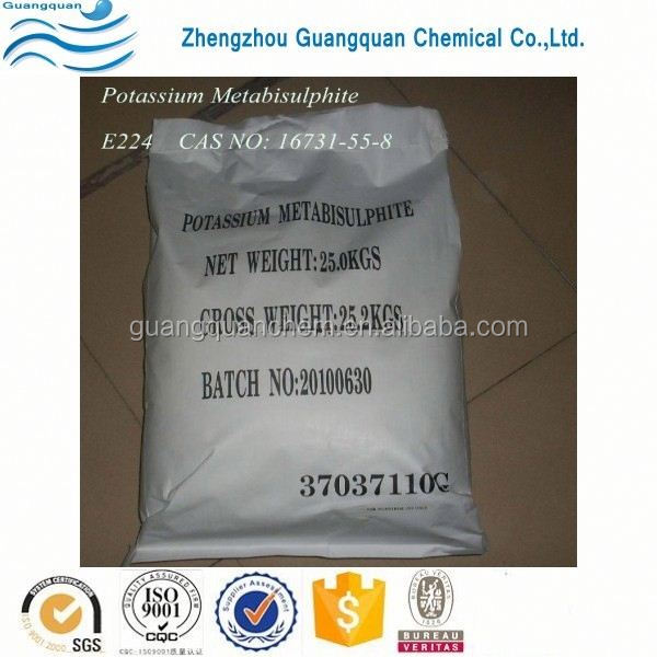 Food grade purity 99% potassium metabisulphite