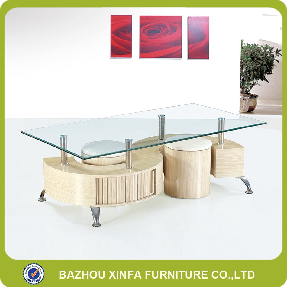 Two stools tempered glass top MDF wood coffee tables cheap sale
