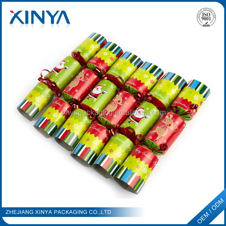 XINYA Promotional Gift Custom Paper Christmas Cracker Decorations Happy Party Cracker