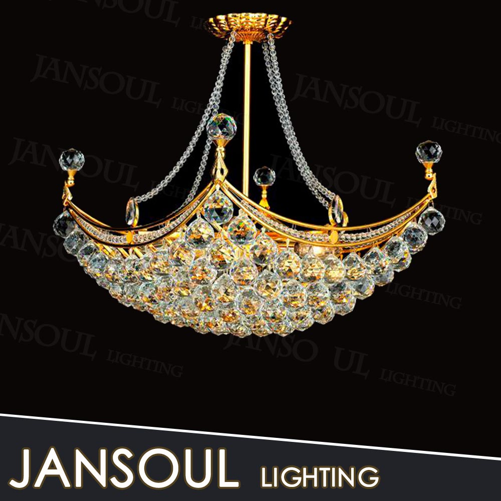 Chinese style chandelier golden flash crystal droplight in bedroom decoration