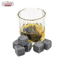 Deep Gray Granite Whiskey Stones, Ice Cube Rocks, Set of 9 Reusable Whiskey Wine & Beverage Chilling Rocks with Velvet Gift Bag